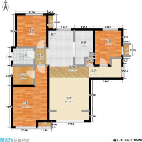 华润橡树湾3室1厅2卫1厨110.00㎡户型图
