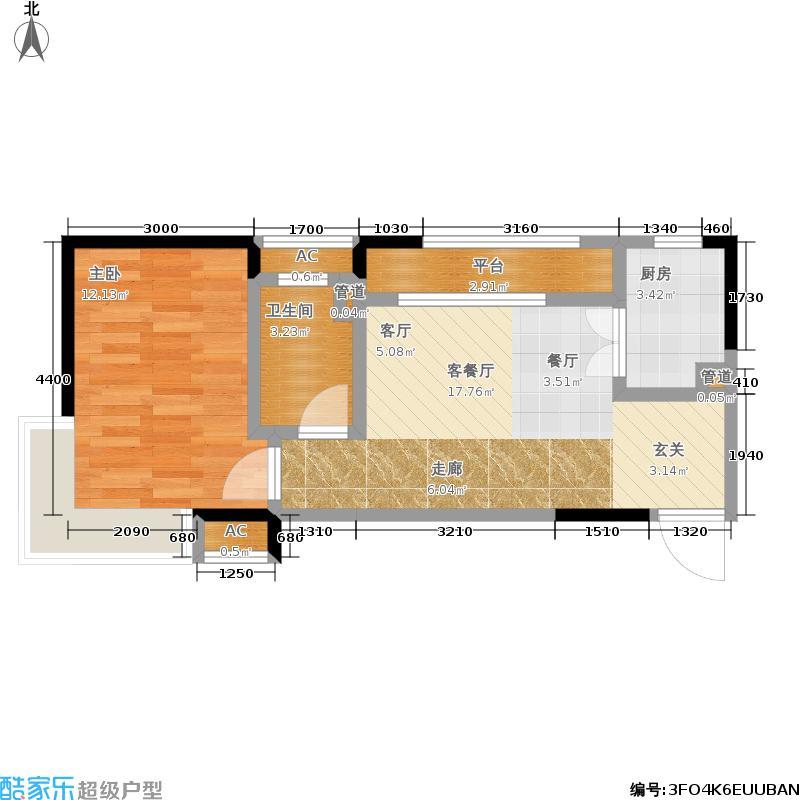 华润橡树湾60.00㎡A户型 一室一厅一卫户型1室1厅1卫