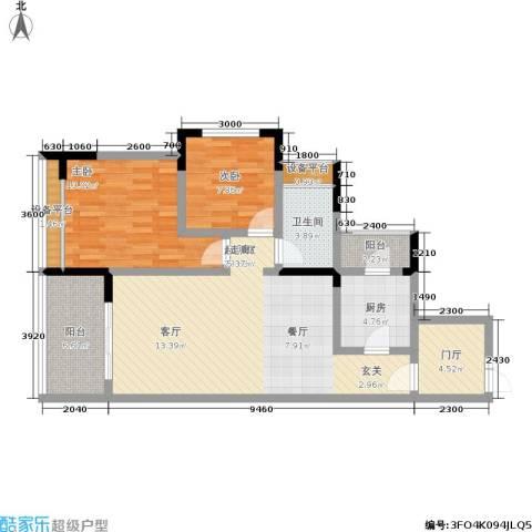 华府春城2室0厅1卫1厨77.00㎡户型图