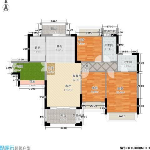 风临美丽湾3室1厅2卫1厨135.00㎡户型图