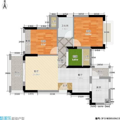 风临美丽湾2室1厅1卫1厨93.00㎡户型图
