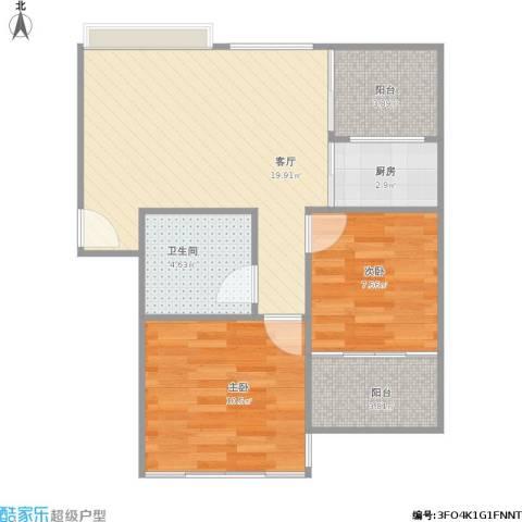 滨江花园2室1厅1卫1厨73.00㎡户型图
