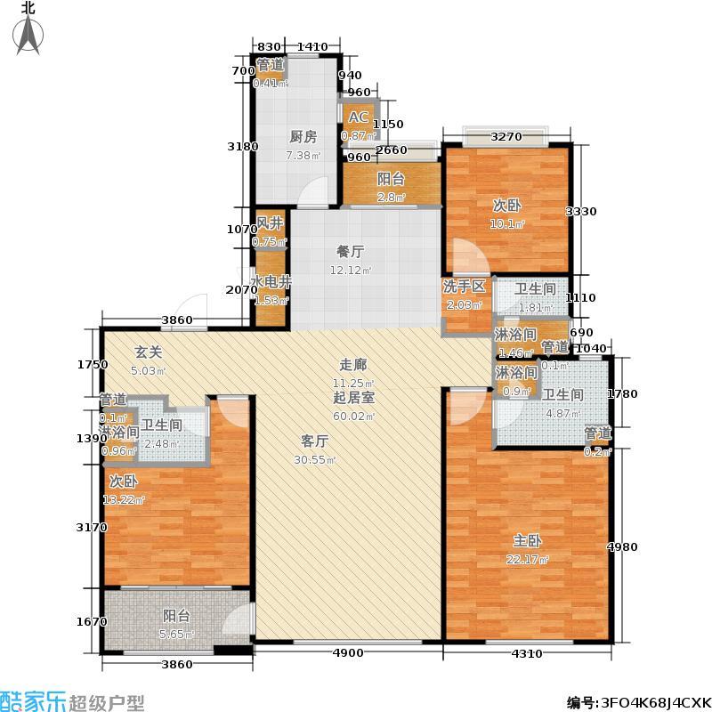 悦府・保利海德公馆三期184.97㎡三室两厅两卫B2户型图户型3室2厅2卫