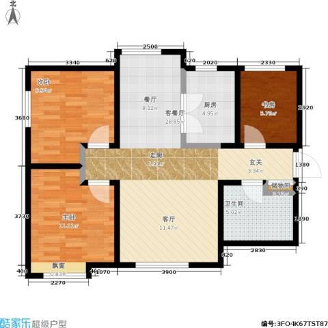 华润橡树湾3室1厅1卫1厨94.00㎡户型图