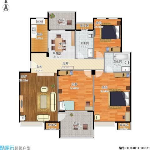 鼎泰花园3室1厅2卫1厨156.00㎡户型图