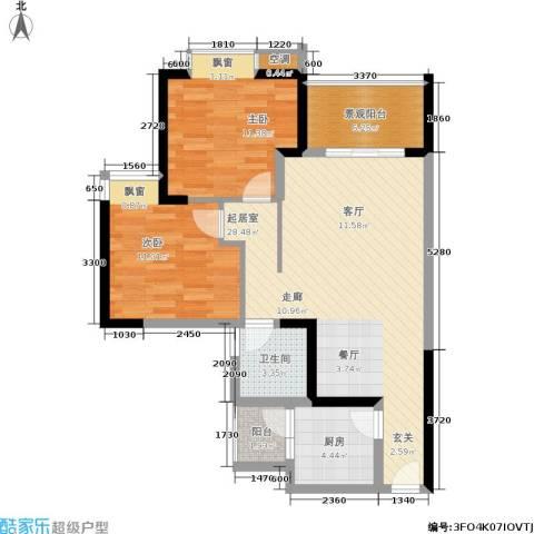 天工太阳岛2室0厅1卫1厨96.00㎡户型图