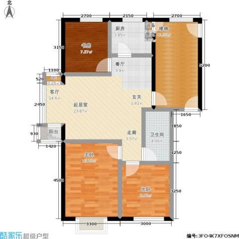 北美家园二、三期3室0厅1卫1厨74.24㎡户型图