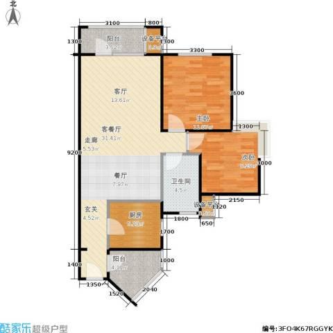 中庚香海上峰2室1厅1卫1厨86.00㎡户型图