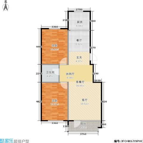 汇益华庭2室1厅1卫1厨90.00㎡户型图