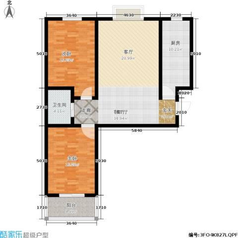 富世康园2室1厅1卫1厨103.00㎡户型图