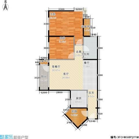 中庚香海上峰2室1厅1卫1厨90.00㎡户型图