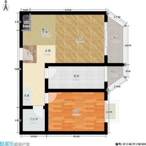 橄榄湾1室1厅1卫1厨66.00㎡户型图