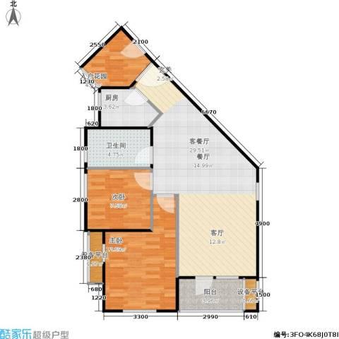 中庚香海上峰2室1厅1卫1厨83.00㎡户型图