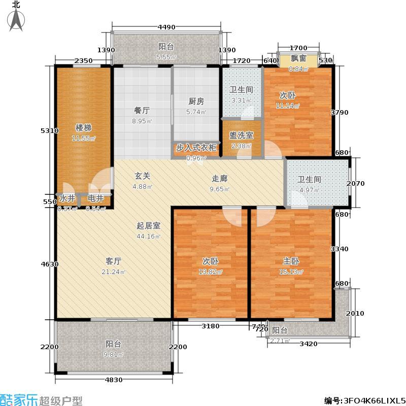 半山公馆143.00㎡B户型 三室两厅两卫户型3室2厅2卫