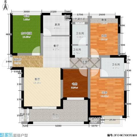 一品嘉庭3室1厅2卫1厨116.00㎡户型图