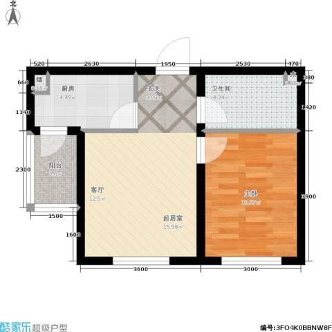 生辉第一城1室0厅1卫1厨60.00㎡户型图