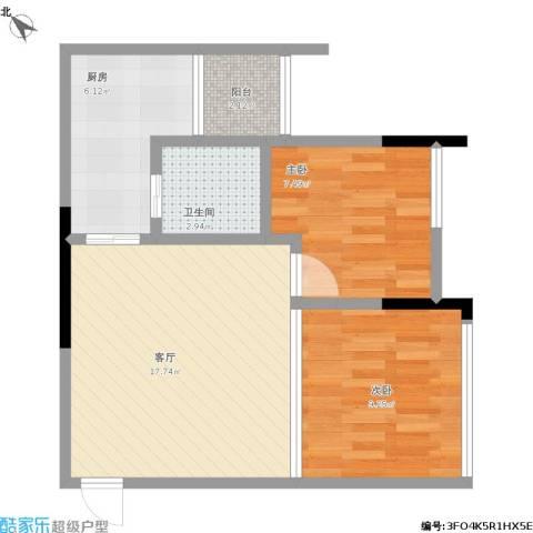 融创伊顿濠庭2室1厅1卫1厨55.00㎡户型图