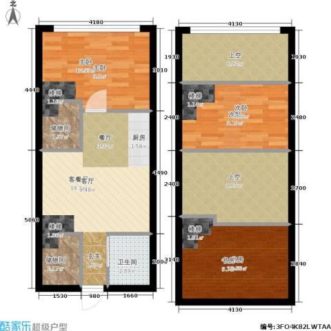 富世康园3室1厅1卫0厨80.75㎡户型图