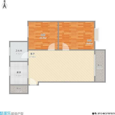 海山北里2室1厅1卫1厨89.00㎡户型图