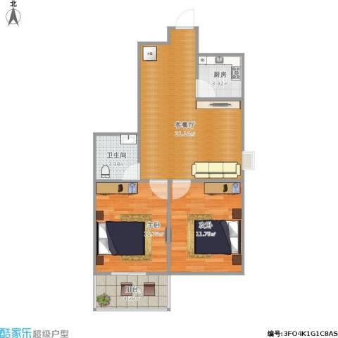 东景花园2室1厅1卫1厨75.00㎡户型图