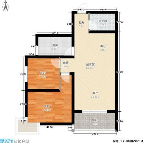 华宇上领国际公寓2室0厅1卫1厨88.00㎡户型图