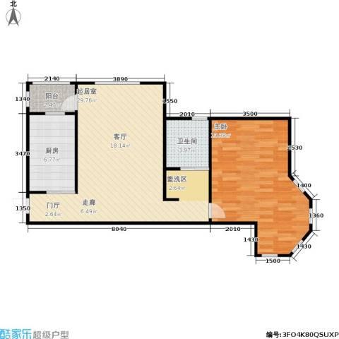 荷塘悦色1室0厅1卫1厨67.00㎡户型图