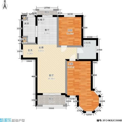 壹品漫谷2室1厅1卫1厨123.00㎡户型图