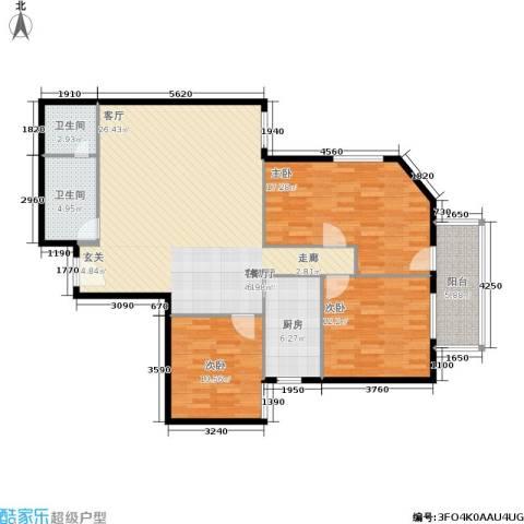 陶然居3室1厅2卫1厨137.00㎡户型图