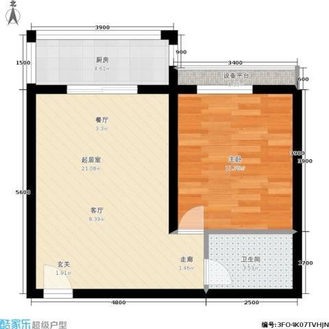 华宇上领国际公寓1室0厅1卫1厨53.00㎡户型图
