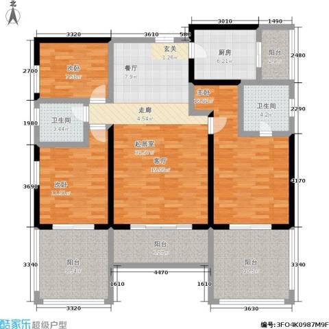 圣湖天域二期3室0厅2卫1厨129.00㎡户型图