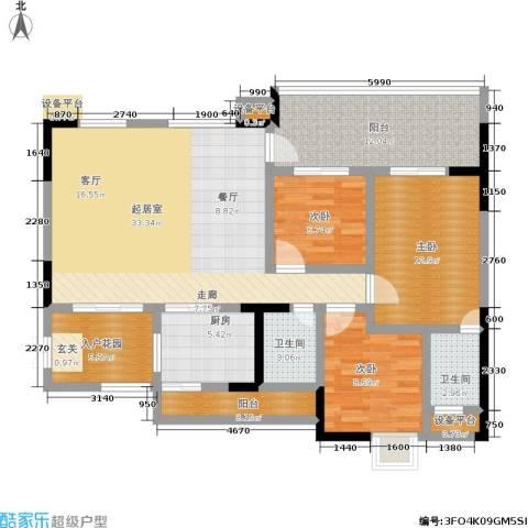 圣湖天域二期3室0厅2卫1厨112.00㎡户型图