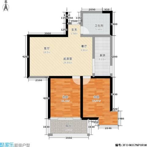 华宇上领国际公寓2室0厅1卫1厨89.00㎡户型图