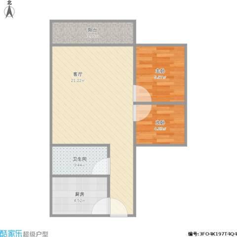 华景花园2室1厅1卫1厨59.00㎡户型图