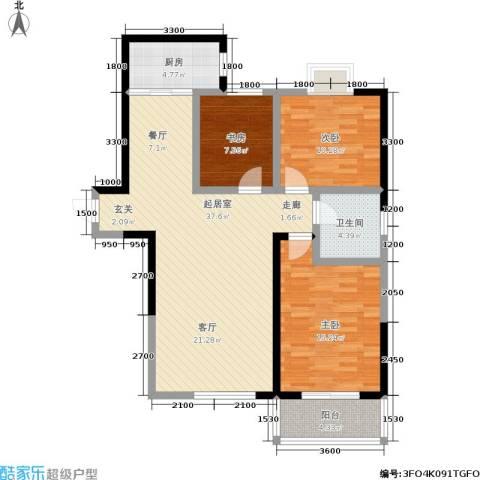 华宇上领国际公寓3室0厅1卫1厨112.00㎡户型图