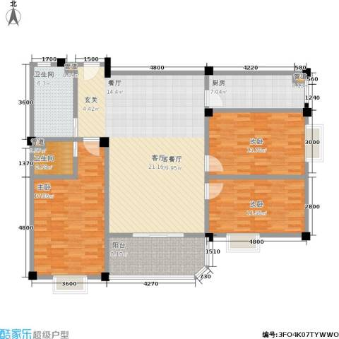 仁寿雅居3室1厅2卫1厨108.05㎡户型图