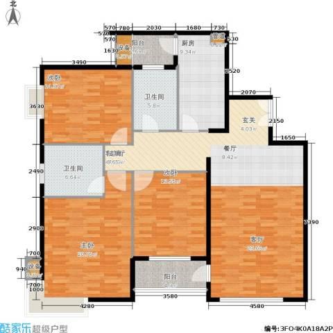 陶然居3室1厅2卫1厨136.00㎡户型图