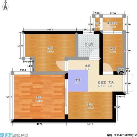 海洲国际公寓2室0厅1卫1厨68.00㎡户型图