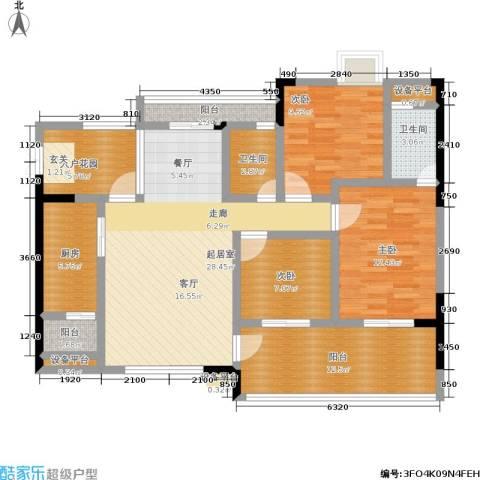 圣湖天域二期3室0厅2卫1厨110.00㎡户型图