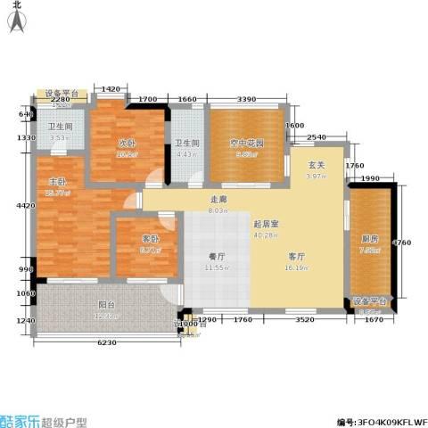圣湖天域二期3室0厅2卫1厨128.00㎡户型图