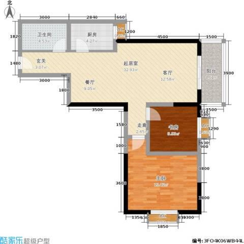 华宇上领国际公寓2室0厅1卫1厨92.00㎡户型图