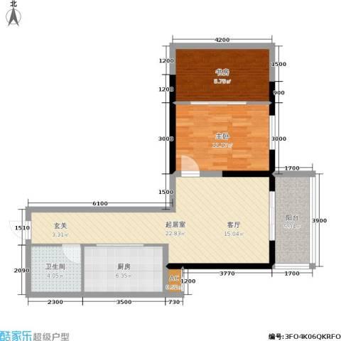 华宇上领国际公寓2室0厅1卫1厨68.00㎡户型图