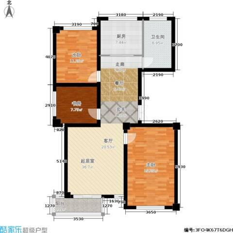 阳光观海苑3室0厅1卫1厨102.00㎡户型图