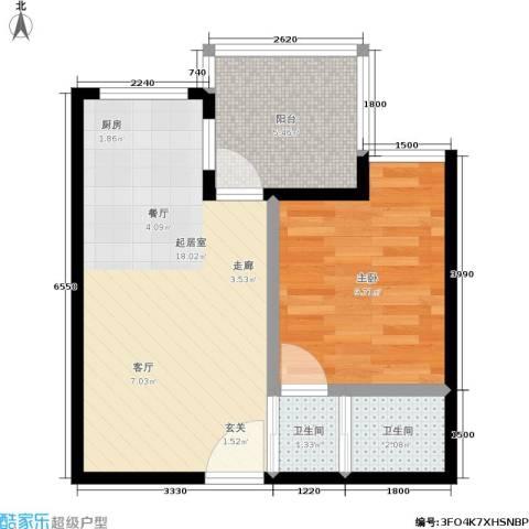 苹果城1室0厅2卫0厨52.00㎡户型图