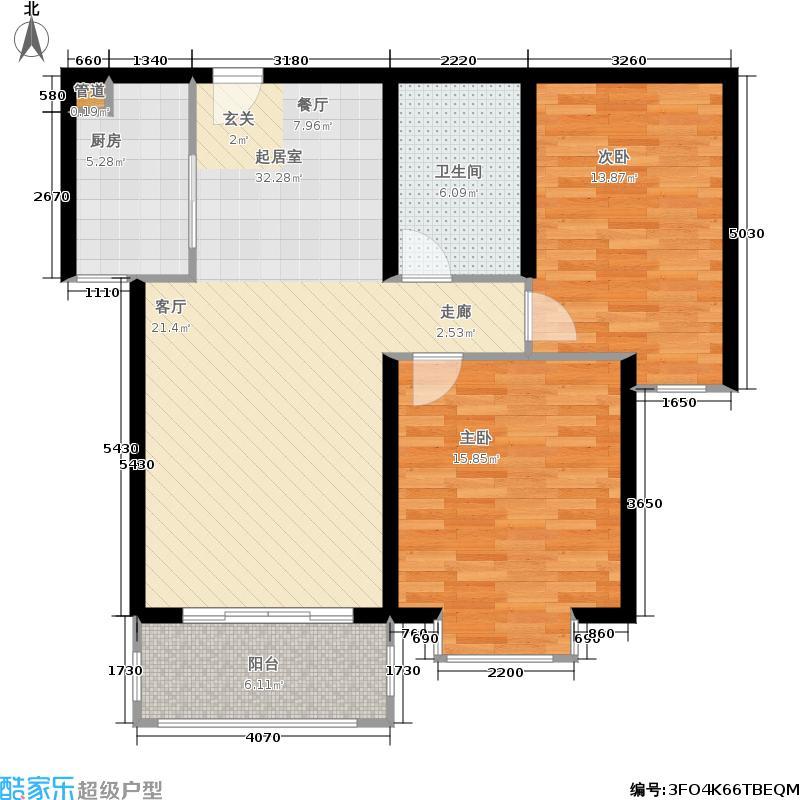 金域阅山89.15㎡5号楼B户型 两室两厅一卫户型2室2厅1卫