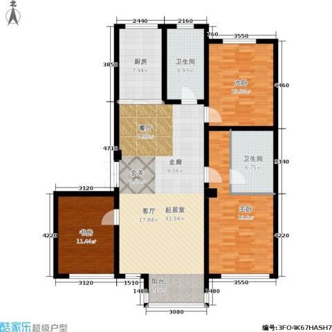 阳光观海苑3室0厅2卫1厨119.00㎡户型图