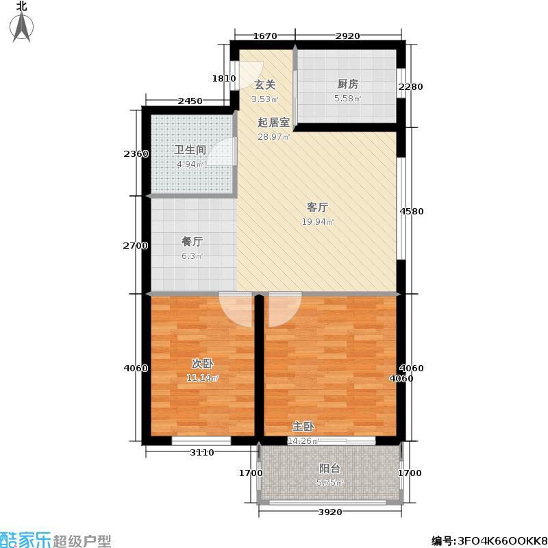 金域阅山79.15㎡5号楼H户型 两室两厅一卫户型2室2厅1卫