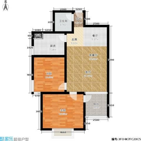 橄榄湾2室1厅1卫1厨89.00㎡户型图