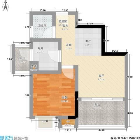 荣涛・丽苑1室0厅1卫1厨37.00㎡户型图
