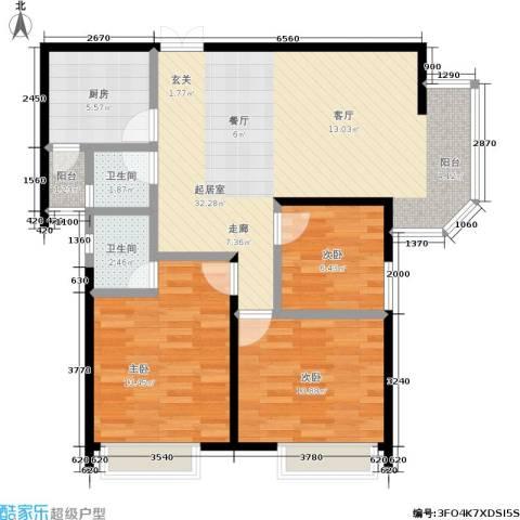 苹果城3室0厅2卫1厨84.00㎡户型图
