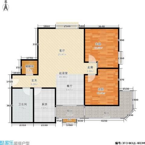 铭湖景园2期2室0厅1卫1厨111.00㎡户型图